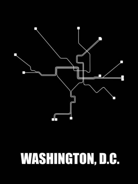 Wall Art - Digital Art - Washington, D.c. Black Subway Map by Naxart Studio