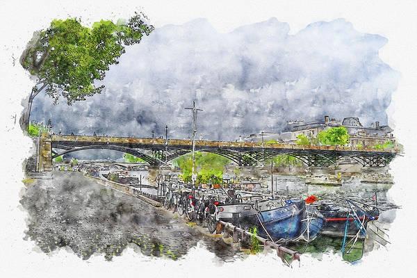 Wall Art - Digital Art - Water #watercolor #sketch #water #boat by TintoDesigns