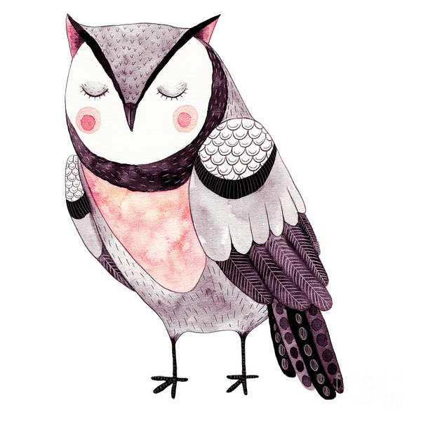 Bird Watercolor Digital Art - Watercolor Funny Kids Illustration With by Maria Sem