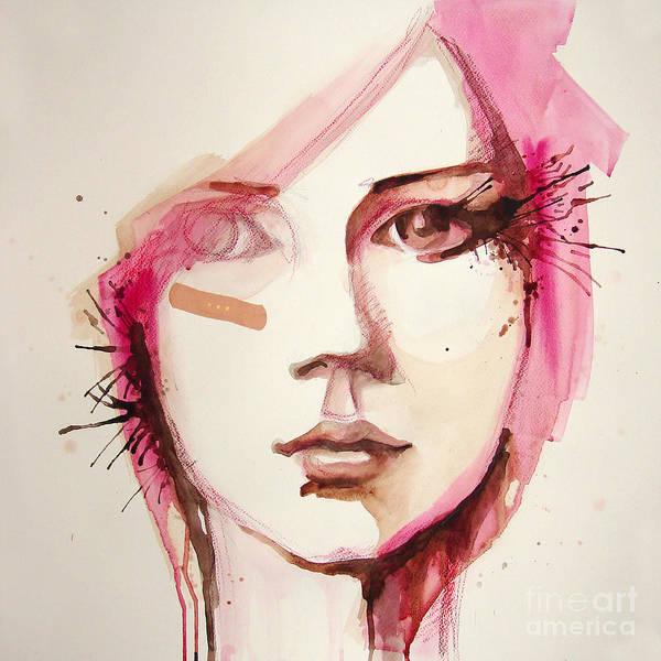 Wall Art - Digital Art - Watercolor Portrait Of Beautiful Girl | by Re bekka