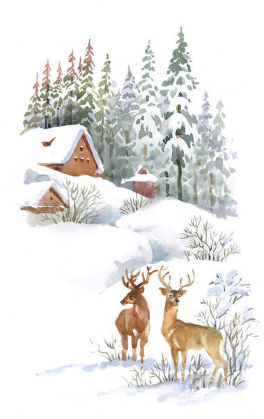Wall Art - Digital Art - Watercolor Winter Landscape With Deers by Kostanproff