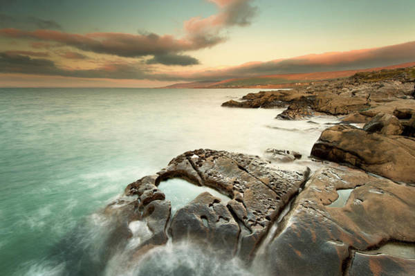 Clare Photograph - Waves Washing Up On Rock Formations by George Karbus Photography