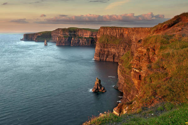 Moher Photograph - Waves Washing Up On Rocky Cliffs by George Karbus Photography