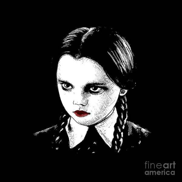 Awesome Show Digital Art - Wednesday Addams by Valentina Hramov