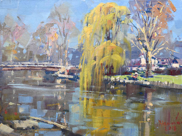 Lake House Painting - Weeping Willow Tree  by Ylli Haruni