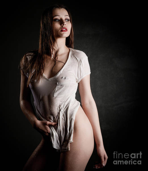 Lip Piercing Wall Art - Photograph - Wet Tshirt by Jt PhotoDesign