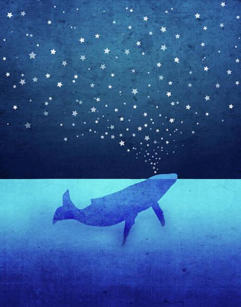 Spout Digital Art - Whale Spouting Stars by Laura Ostrowski