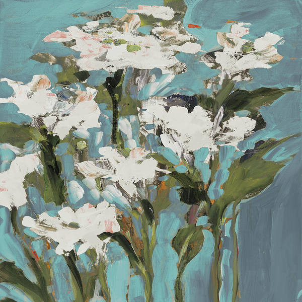 Wall Art - Painting - Wild Flowers On Blue I by Jane Slivka