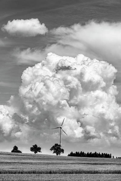 Wall Art - Photograph - Wind Turbine With Cumulus Cloud, Baden by Panoramic Images