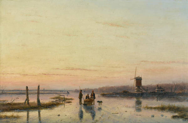 Figure Skater Painting - Windmill Beside A Frozen River by Andreas Schelfhout