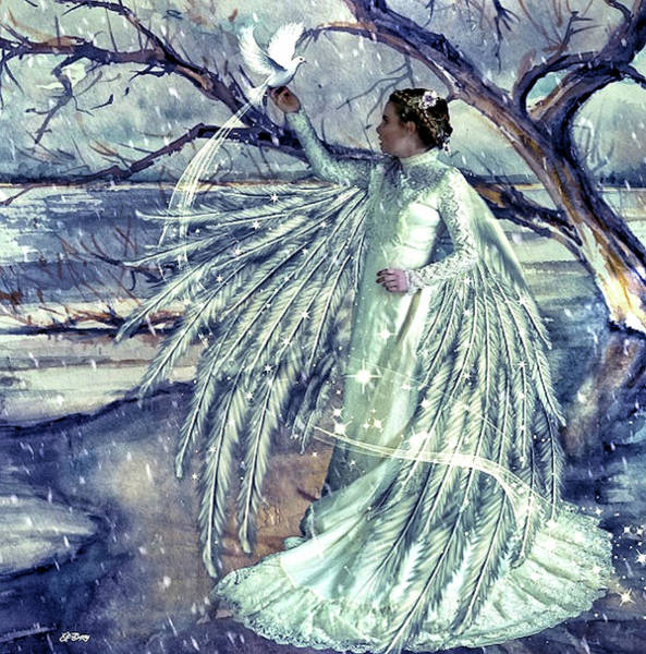Stream Mixed Media - Winter Angel by G Berry