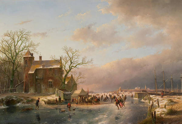 Figure Skater Painting - Winter Landscape by Andreas Schelfhout
