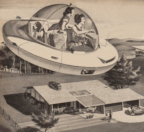 Woman Driving Flying Saucer Art Print