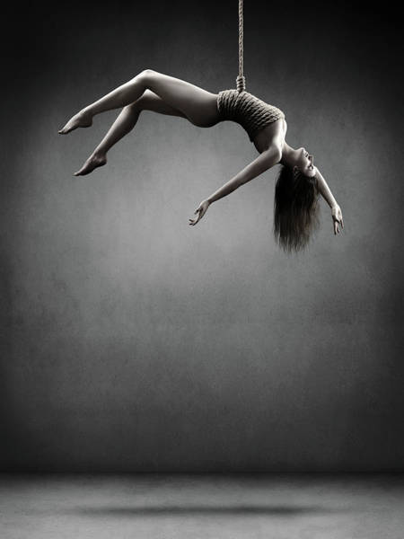 Upper Body Photograph - Woman Hanging On A Rope by Johan Swanepoel