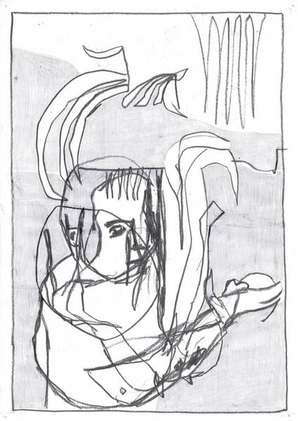 Drawing - Woman Holding A Mouse by Artist Dot