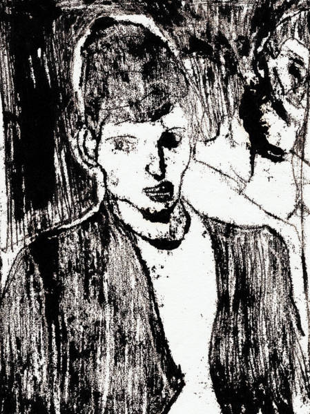 Drawing - Woman In A Bar by Artist Dot