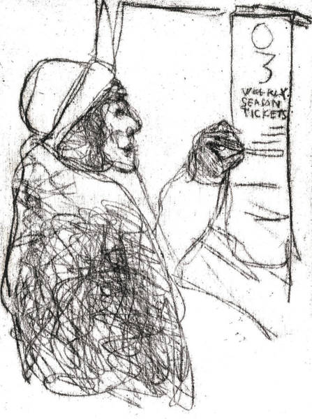 Drawing - Woman In A Coat by Artist Dot