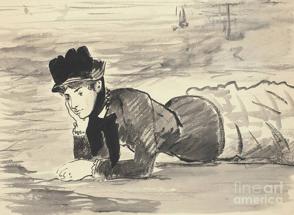 Wall Art - Drawing - Woman Lying On The Beach, Annabel Lee by Edouard Manet
