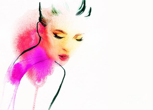 Wall Art - Digital Art - Woman Portrait .abstract Watercolor by Anna Ismagilova