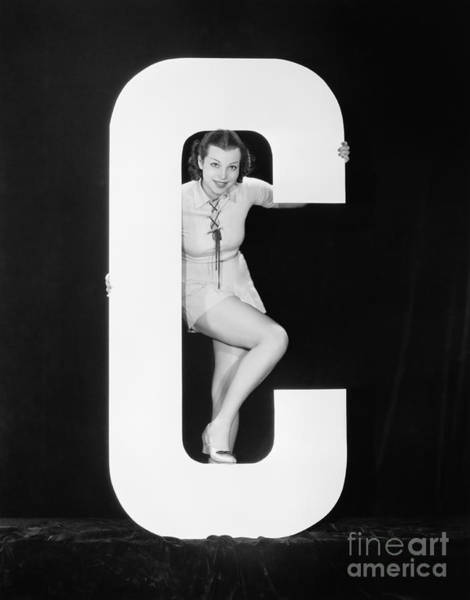 Wall Art - Photograph - Woman Posing With Huge Letter C by Everett Collection