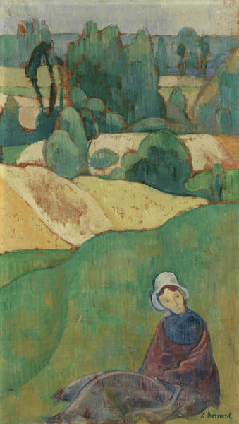 Wall Art - Painting - Woman Sitting In A Field - Brittany by Emile Bernard
