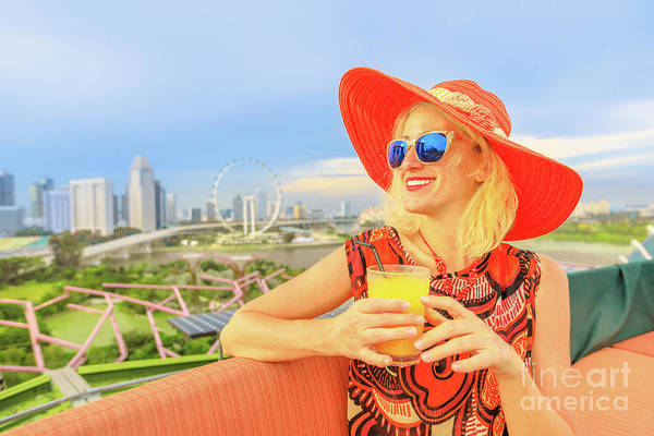 Photograph - woman with alcoholic cocktail in Singapore by Benny Marty