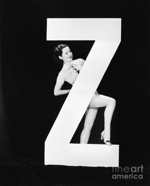 Wall Art - Photograph - Woman With Huge Letter Z by Everett Collection