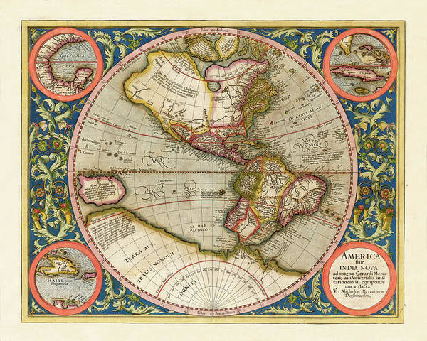 Photograph - World Map 1587 by Andrew Fare