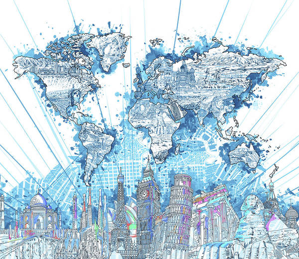 Wall Art - Digital Art - World Map Landmarks 7 by Bekim M