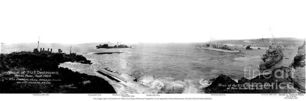 Photograph - Wreck Of 7 U.s. Navy Destroyers At Hondo Point Sept 1923 by California Views Archives Mr Pat Hathaway Archives