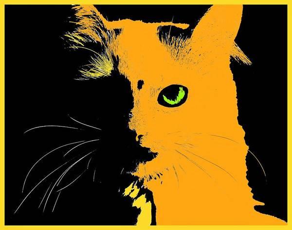 Wall Art - Painting - Yellow Cat by ArtMarketJapan