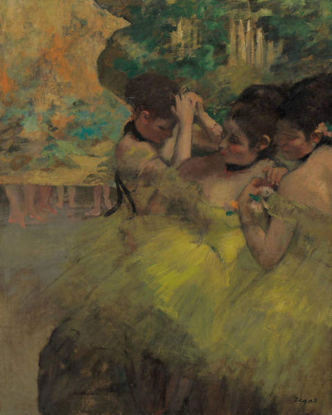 Wall Art - Painting - Yellow Dancers - In The Wings by Edgar Degas