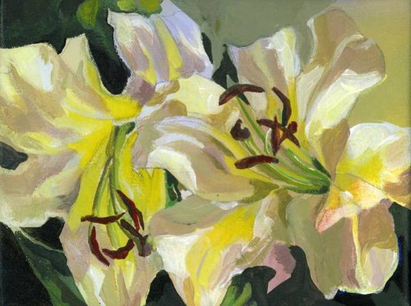Painting - Yellow Lilies by Alfred Ng