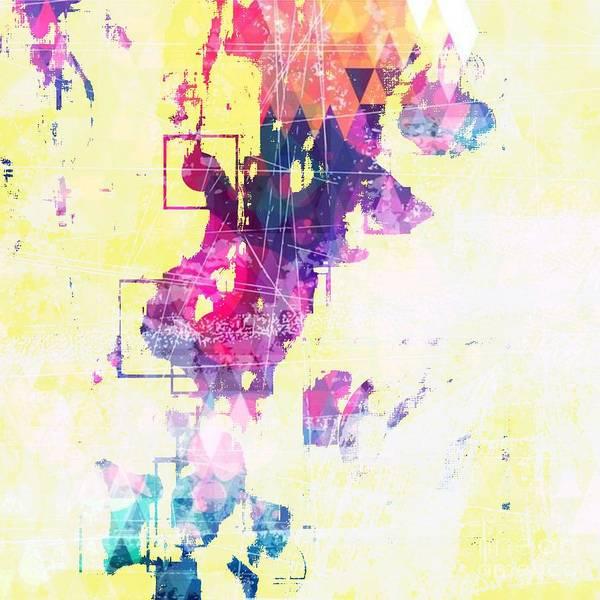 Digital Art - Yellow Pastel Geometric Design by Sheila Wenzel