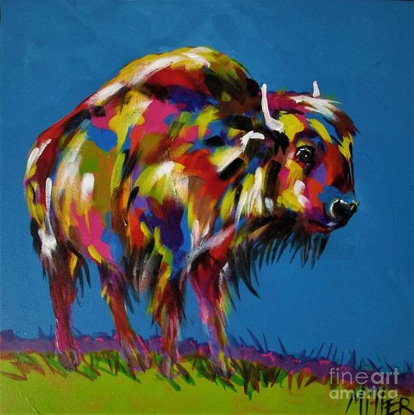Wall Art - Painting - Yellowstone Bison by Tracy Miller