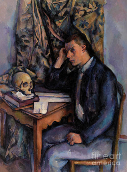 Wall Art - Painting - Young Man And Skull by Paul Cezanne