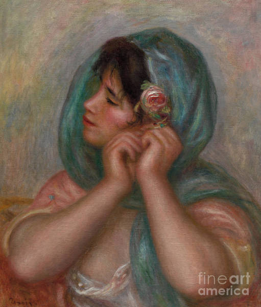 Wall Art - Painting - Young Woman Arranging Her Earring, 1905 by Pierre Auguste Renoir