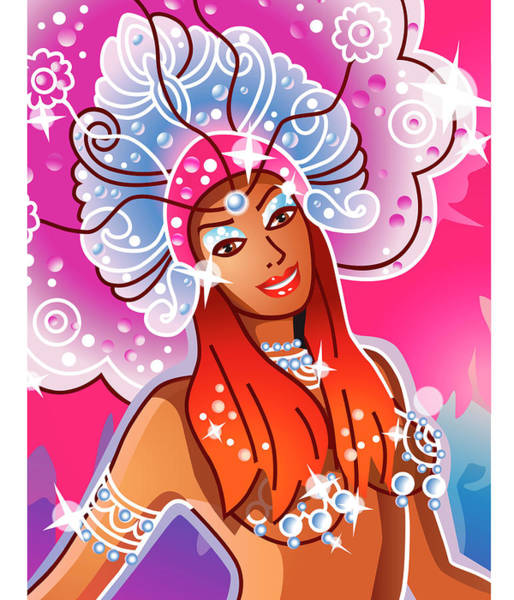 Costume Digital Art - Young Woman Wearing Carnival Costume by New Vision Technologies Inc