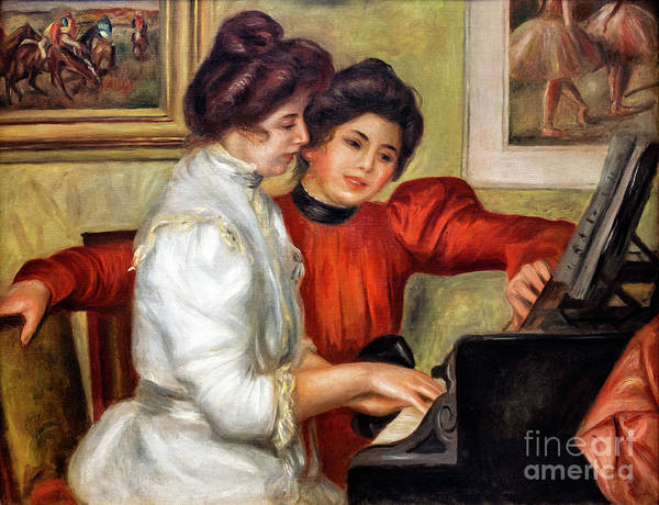 Painting - Yvonne And Christine Lerolle At The Piano by Auguste Renoir