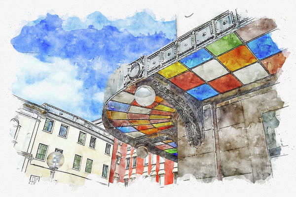 Wall Art - Digital Art - Architecture #watercolor #sketch #architecture #house by TintoDesigns