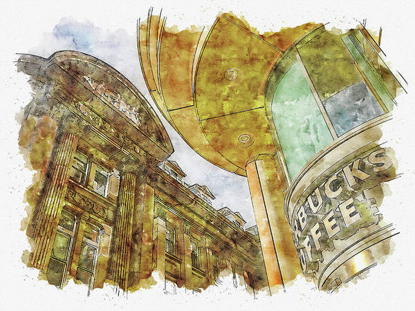Wall Art - Digital Art - Building #watercolor #sketch #building #architecture by TintoDesigns