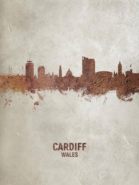 Wall Art - Digital Art - Cardiff Wales Skyline by Michael Tompsett