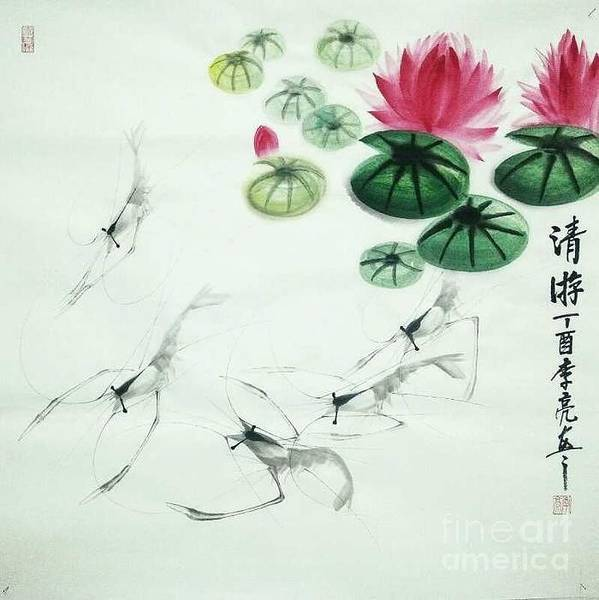 Painting - Shrimps In Clear Lotus Pond by Li Liang