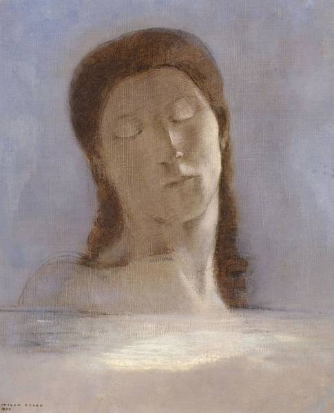 Wall Art - Painting - Closed Eyes by Odilon Redon