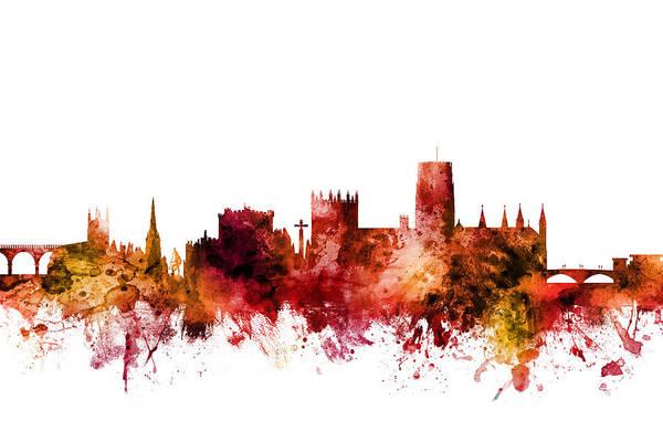 Wall Art - Digital Art - Durham England Skyline Cityscape by Michael Tompsett