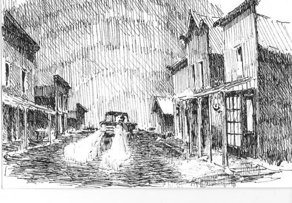 Drawing - Ghost Town by Kevin Heaney