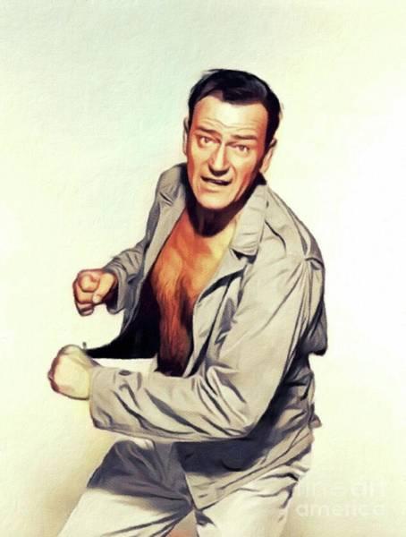 Wall Art - Painting - John Wayne, Vintage Movie Star by John Springfield