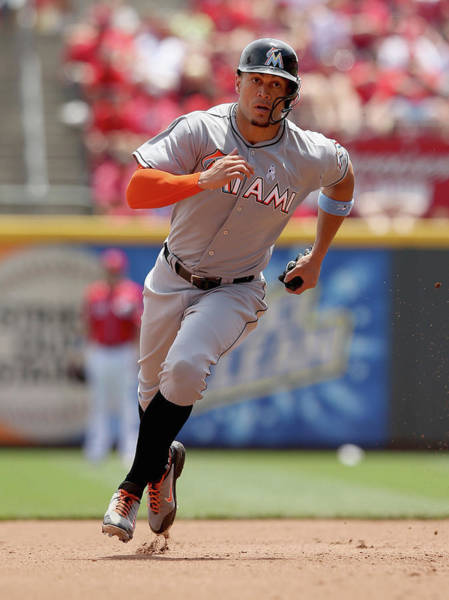 Giancarlo Stanton Photograph - Miami Marlins V Cincinnati Reds by Andy Lyons