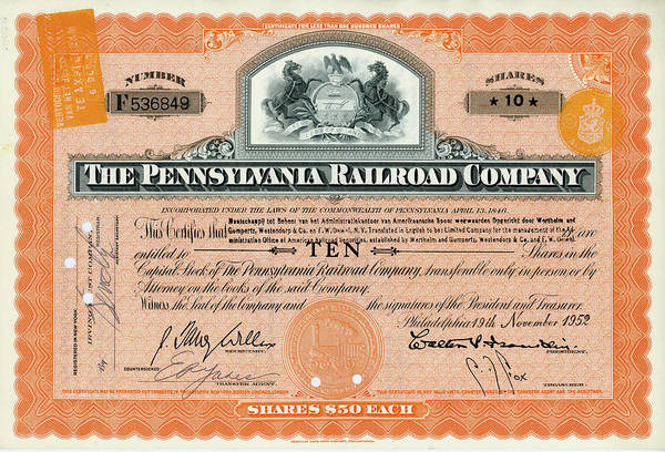 Wall Art - Photograph - 10 Shares Of Pennsylvania Railroad Stock - Small Size by Paul W Faust - Impressions of Light