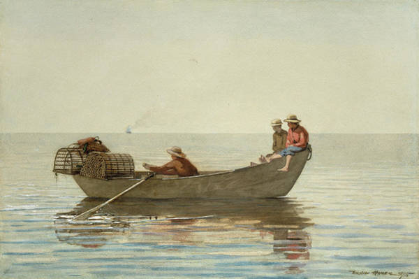 Wall Art - Painting - Three Boys In A Dory With Lobster Pots -  by Winslow Homer